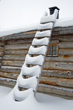 Ladder for Santa. Snowy ladder near log cabin in december Royalty Free Stock Photo