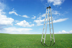 Ladder in the sky. A metal ladder on the green lawn Stock Image