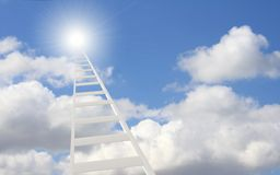 Ladder in the sky. Conceptual image - 3d ladder in the sky Stock Photo