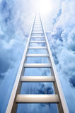Ladder in sky symbolizing success. Tall ladder vanishing into the sky, indicating success and achievement vector illustration