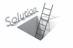 Ladder in square hole over white surface solution illustration Royalty Free Stock Photo