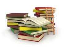 A ladder on stack of books. 3d Stock Image