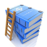 A ladder on stack of books. 3d. In the design of the information related to the knowledge. 3d illustration Royalty Free Stock Image