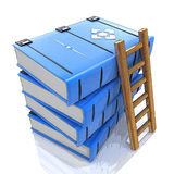 A ladder on stack of books. 3d. In the design of the information related to the knowledge. 3d illustration Stock Photography