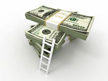 Ladder on stack from dollars pack. Royalty Free Stock Image