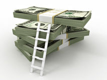 Ladder on stack from dollars pack. Royalty Free Stock Images