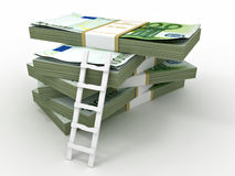 Ladder on stack from  packs of euro Royalty Free Stock Image