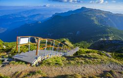 Ladder with stairs in the beautiful mountain landscape. Ceahlau, Toaca. Royalty Free Stock Photography