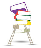 ladder standing near books pile Royalty Free Stock Image