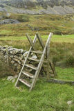 Ladder Style, North Wales. Typical ladder style, over dry stone wall, Snowdonia National Park, Gwynedd, Wales, United kingdom Royalty Free Stock Images