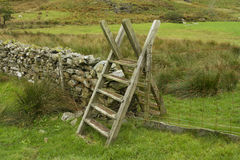 Ladder Style, North Wales. Typical ladder style, over dry stone wall, Snowdonia National Park, Gwynedd, Wales, United kingdom Stock Images