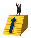 Ladder of Success. Victorious businessman standing on top of stairs Stock Photo