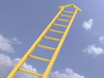 Ladder of success. Wooden ladder of success 3d Royalty Free Stock Image