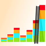 Ladder of success. The  ladder to take to reach the target. Concept success story of the business Stock Photos
