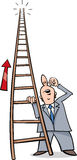 Ladder of success cartoon. Cartoon Humor Concept Illustration of Ladder of Success Saying or Proverb Royalty Free Stock Images