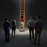 Ladder of success. Image of woman climbing career ladder with people watching. Success and achievement Royalty Free Stock Photo