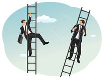 Ladder of success. Two angry business colleagues are fighting. Climbing the ladder of success. One is kicking another. Corporate competition royalty free illustration