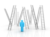 Ladder. Three dimensional illustration of Stairs and Person Royalty Free Stock Images