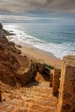 Stone stairway to the beach Royalty Free Stock Images