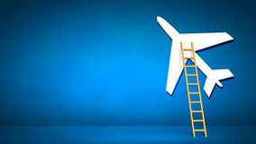Ladder to airplane Stock Photo