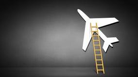 Ladder to airplane Stock Photo