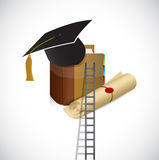Ladder to a better education. illustration design. Over a white background Royalty Free Stock Photos