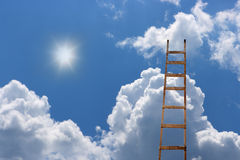 Ladder to blue beautiful heaven. Old antique ladder to blue beautiful heaven stock photo