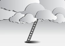 Ladder to cloud on gray background Stock Photo