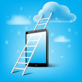 Ladder to cloud through smart phone Royalty Free Stock Photo