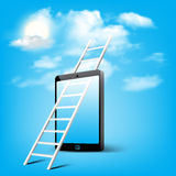 Ladder to cloud through smart phone Royalty Free Stock Photos