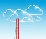 Ladder to the clouds concept illustration design. Over a blue background Stock Image