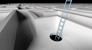 Ladder to escape the maze Stock Images