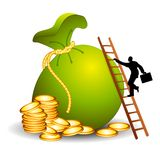 The Ladder To Financial Success. An illustration featuring a businessman climbing a ladder placed against a large bag of money and coins Stock Image