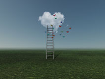 Ladder to heart cloud Royalty Free Stock Photography