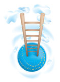 Ladder to heaven. Climb the ladders to the clouds, dreams and heaven Stock Image
