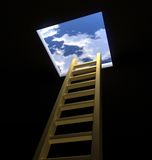 Ladder to the Heavens. High Quality 3D render of a golden Ladder leading from a dark room into bright blue skies beyond Royalty Free Stock Photos