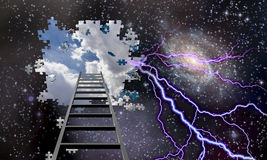 Ladder to Hole in Night Sky Reveals Day Skies Royalty Free Stock Photo