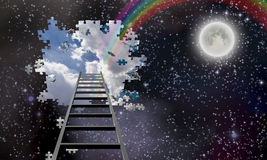 Ladder to Hole in Night Sky Reveals Day Time Royalty Free Stock Images