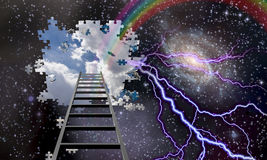 Ladder to Hole in Night Sky Stock Photography