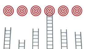 Ladder to middle of target on white background Royalty Free Stock Photography