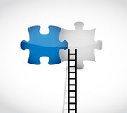 Ladder to the missing pieces concept Stock Photos