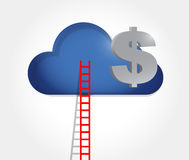 Ladder to a money cloud. illustration Stock Photo