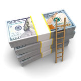 Ladder to money. 3d illustration of dollars stack and wooden ladder Stock Image