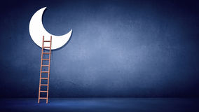 Ladder to moon. Conceptual image with ladder to moon on blue background Stock Photography