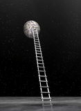 Ladder to the moon - 3D render Royalty Free Stock Photo