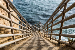 Ladder to Ocean at Sunset Cliffs in San Diego stock photos