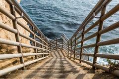 Ladder to Ocean at Sunset Cliffs in San Diego stock photos
