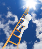 Ladder to sky 3d. 3d character climbing to sky with ladder Stock Photography