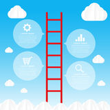 Ladder to sky and cloud infographic data bubble template - vecto Stock Images