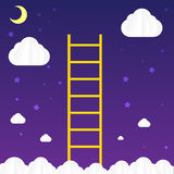 Ladder to sky with cloud and star - vector illustration Stock Images